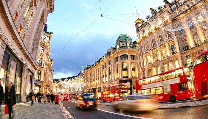 Busy UK city street