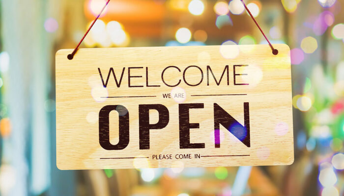 Welcome open retail sign