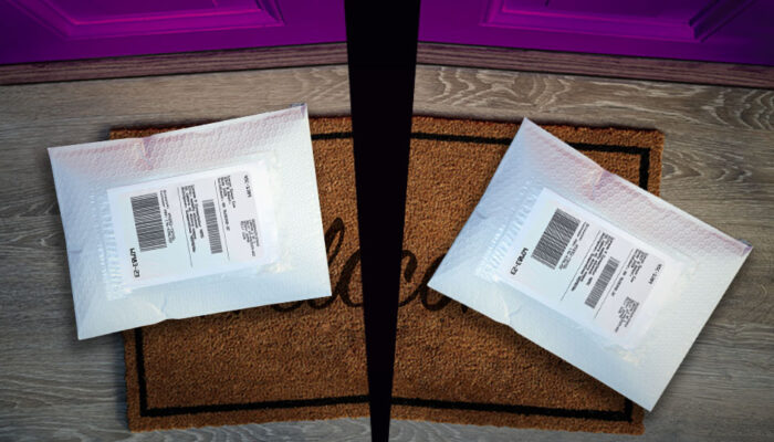 Two packages on a doorstep
