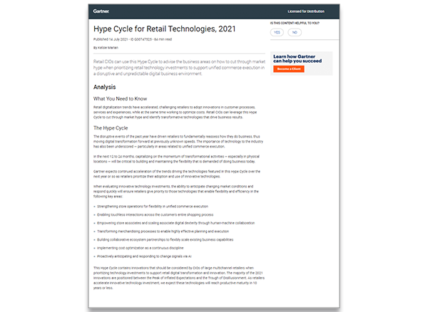 Cover Gartner Hype Cycle Retail Technologies