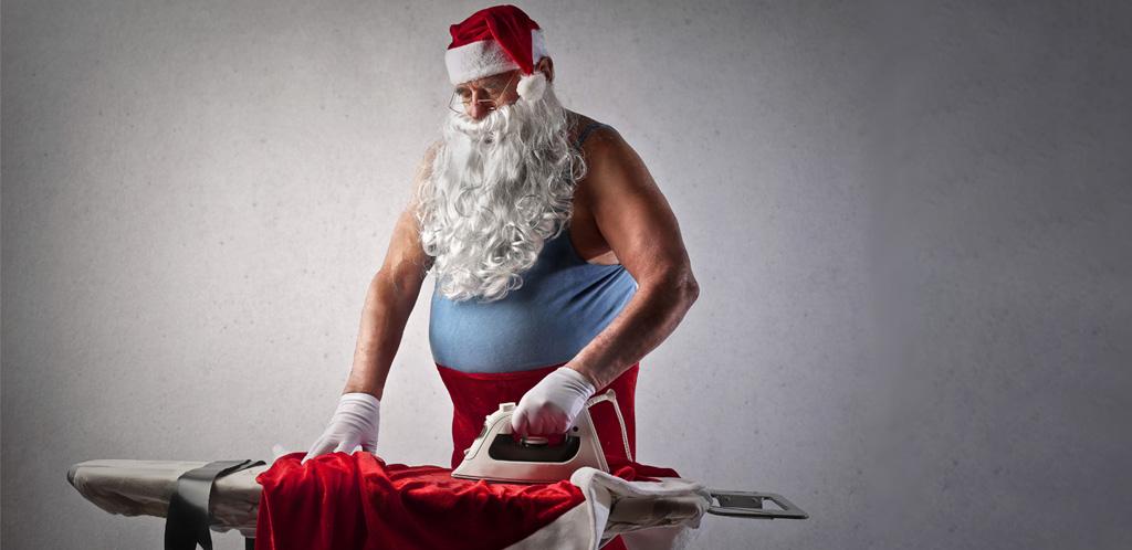 Santa Ironing his suit